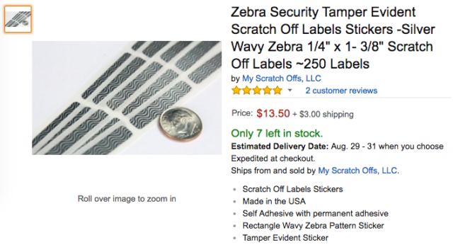 Amazon Product Listing for Zebra Security Tamper Evident Scratch Off Labels Stickers
