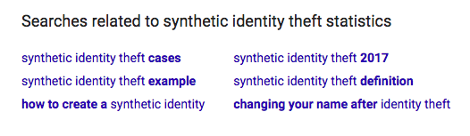 Sythentic Identity Fraud Google Results
