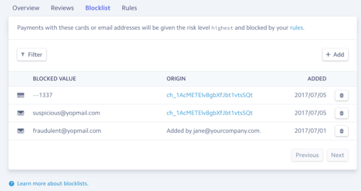 Stripe Block List